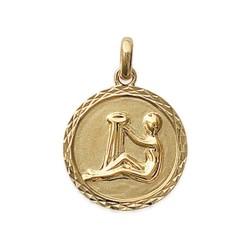 Pendentif en plaqué or médaille ciselée signe Verseau signe astrologique zodiaque