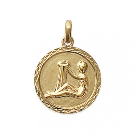 Pendentif plaqué or médaille ciselée Verseau Obrillant-Bijoux