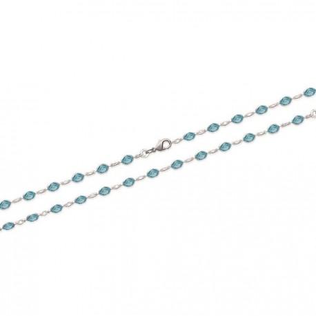 Bracelet en argent navettes rivière de pierres en cristal ovales bleues obrillant-bijoux