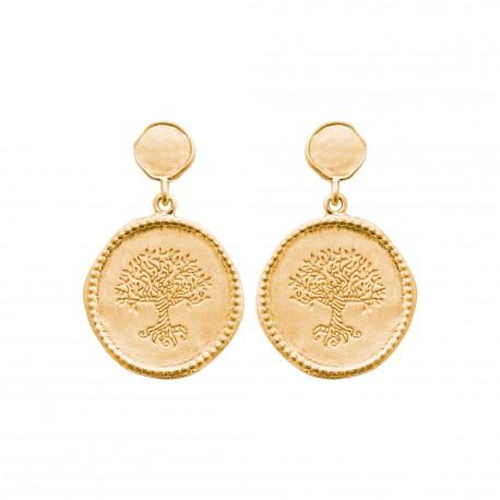 Boucles d'oreilles pendantes en plaqué or arbre de vie obrillant-bijoux