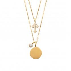 Collier multi rangs en plaqué or médaille ovale et croix pavé en zirconium obrillant-bijoux