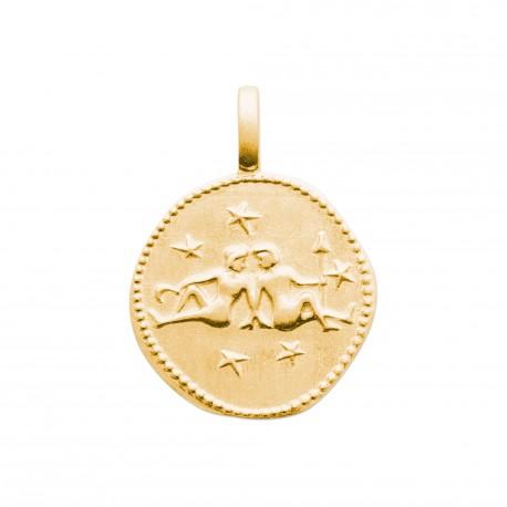 Pendentif en plaqu/é Or m/édaille cisel/ée Signe g/émeaux Signe Astrologique Zodiaque Obrillant-Bijoux