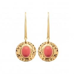 Boucles d'oreilles en plaqué or cercle martelé et corail obrillant-bijoux