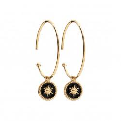 Créoles en plaqué or anneaux pendants étoiles en émail noir obrillant-bijoux