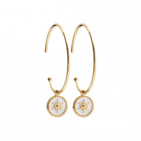 Créoles en plaqué or anneaux pendants étoiles en émail blanc obrillant-bijoux