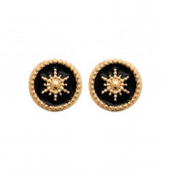 Puces d'oreilles en plaqué or anneaux étoiles en émail noir
