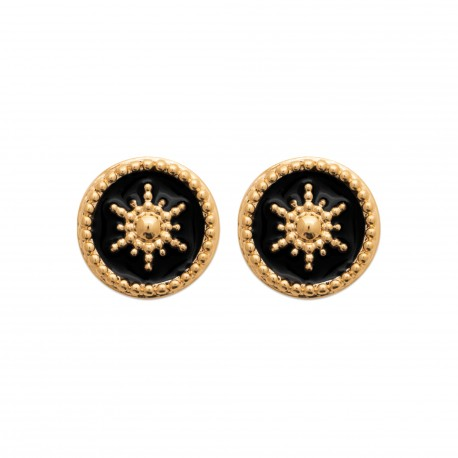 Puces d'oreilles en plaqué or anneaux étoiles en émail noir obrillant-bijoux