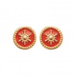 Puces d'oreilles en plaqué or anneaux étoiles en émail corail