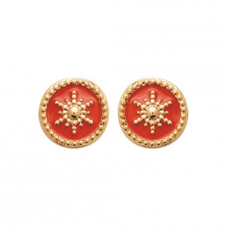 Puces d'oreilles en plaqué or anneaux étoiles en émail corail obrillant-bijoux