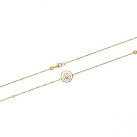 Bracelet en plaqué or médaille en émail blanc oeil de turquie et pierre en zirconium obrillant-bijoux