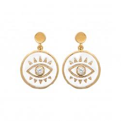Boucles d'oreilles en plaqué or en émail blanc oeil de turquie et pierre en zirconium obrillant-bijoux