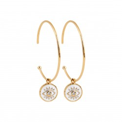 Créole en plaqué or pampille en émail blanc oeil de turquie et pierre en zirconium obrillant-bijoux