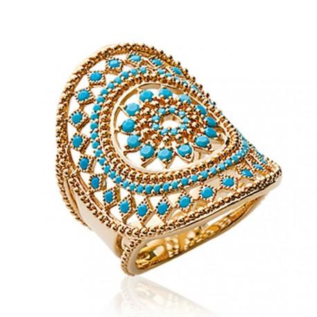 Bague plaqué or large anneau ciselé pavé turquoises synthèse Obrillant-Bijoux