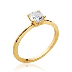 Solitaire plaqué or pierre 5 mm en zirconium blanc Obrillant-bijoux