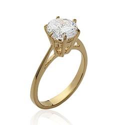 Solitaire plaqué or pierre 8 mm en zirconium blanc Obrillant-bijoux