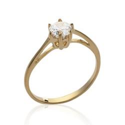 Solitaire plaqué or pierre 5 mm en zirconium blanc pas cher Obrillant-bijoux