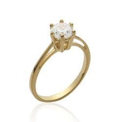 Solitaire plaqué or pierre 6 mm en zirconium blanc pas cher Obrillant-bijoux