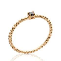 Solitaire fin plaqué or monture perlée pierre en zirconium noir Obrillant-bijoux