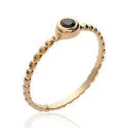 Solitaire fin plaqué or monture perlée pierre sertie clos en zirconium noir Obrillant-bijoux