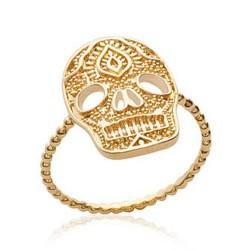 Bague en plaqué or tête de mort style aztèque Obrillant-bijoux