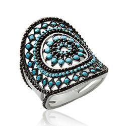 Bague en argent massif 925 rhodié large ciselée pavé pierres turquoises synthèse bleu Obrillant-Bijoux
