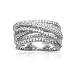 Bague en argent 925 rhodié anneaux entrelacés pavé en zirconium blanc Obrillant-Bijoux