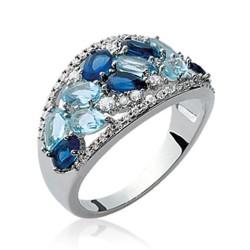 Bague en argent massif 925 rhodié pavé de pierres en cristal bleu Obrillant-Bijoux