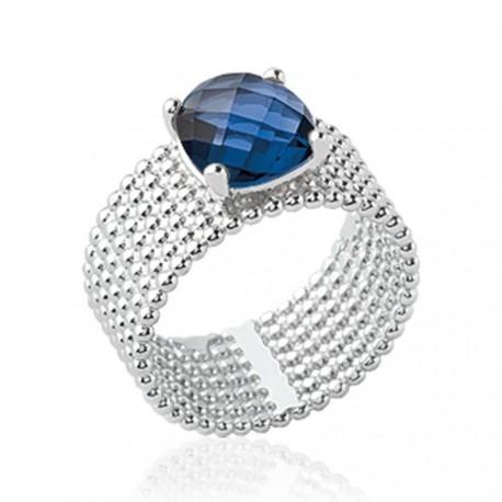 Bague large en argent rhodié sept rangs perlés pierre carré en cristal bleu à facettes Obrillant-Bijoux