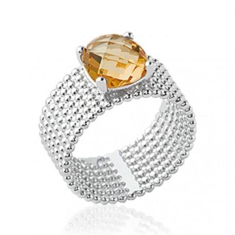 Bague large en argent rhodié sept rangs perlés pierre carré en cristal brun à facettes Obrillant-Bijoux