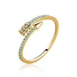 Bague en plaqué or flèche pavé en turquoises Obrillant-bijoux