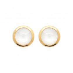 Puces d'oreilles en plaqué or pierre ronde en pierre de lune obrillant-bijoux