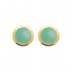 Puces d'oreilles en plaqué or pierre ronde en aventurine véritable obrillant-bijoux