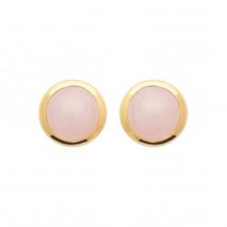 Puces d'oreilles en plaqué or pierre ronde en quartz rose obrillant-bijoux