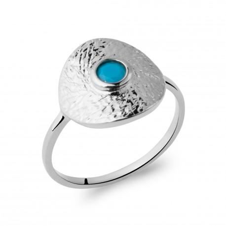 Bague en argent massif 925 rhodié ronde ciselée et pierre bleue Obrillant-Bijoux