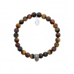 Bracelet élastique en acier inoxydable boules en véritable oeil de tigre marron
