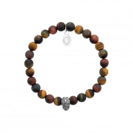 Bracelet élastique en acier inoxydable boule en véritable oeil de tigre marron obrillant-bijoux