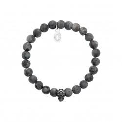 Bracelet élastique en acier inoxydable boules en véritable labradorite obrillant-bijoux