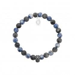 Bracelet élastique en acier inoxydable boules en véritable sodalite obrillant-bijoux