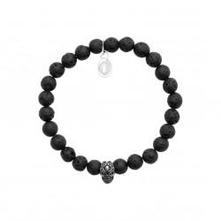 Bracelet élastique en acier inoxydable boules en véritable pierres de lave obrillant-bijoux