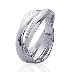 Alliance bague en argent 925 massif trois anneaux entrelacés style mixte Obrillant-Bijoux