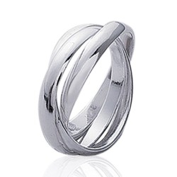 Alliance bague en argent 925 rhodié trois anneaux entrelacés style mixte Obrillant-Bijoux