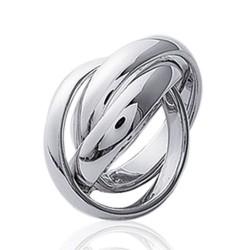 Alliance bague en argent 925 massif trois anneaux larges entrelacés style mixte Obrillant-Bijoux