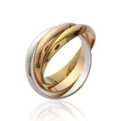 Alliance 3 ors en argent 925 massif trois anneaux entrelacés style mixte Obrillant-Bijoux