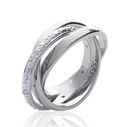 Alliance bague en argent 925 rhodié trois anneaux entrelacés en zirconium Obrillant-Bijoux