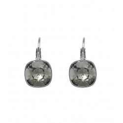 Boucles d'oreilles pendantes dormeuses Bohm pierre carrée en cristal gris noir Obrillant-Bijoux