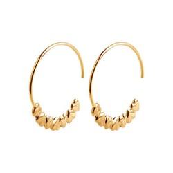 Créoles crochets plaqué or anneaux contours coeurs obrillant-bijoux
