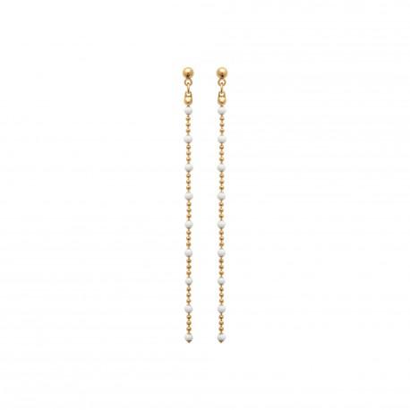Boucles d'oreilles plaqué or longues et fines petites boules blanches en émail obrillant-bijoux