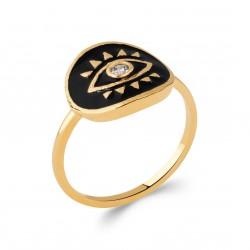 Bague en plaqué or ronde en émail noir oeil de Turquie et zirconium Obrillant-bijoux