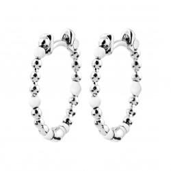 Créoles en argent rhodié anneaux maille perlées boules en émail blanc obrillant-bijoux