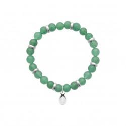Bracelet élastique en acier inoxydable boule en véritable quartz vert obrillant-bijoux